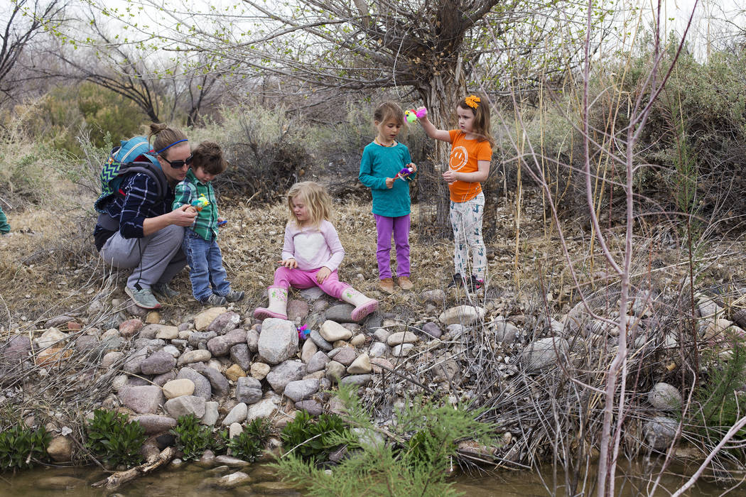 Hailey Stanley holds her son Rian Stanley, 1, from left, her daughter Quinn Stanley, 3, while exploring the creek next to Emma Campagna, 5, and Isabella LaMon, 3, during the Nature Tykes program a ...