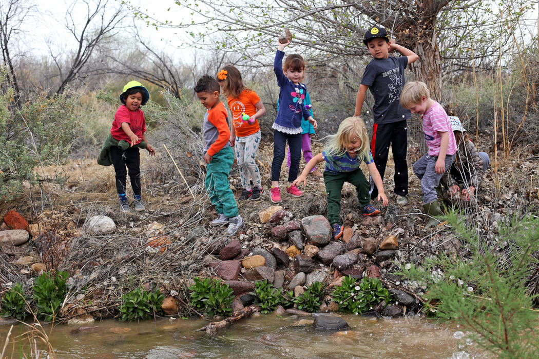 Children throw rocks into the creek during the Nature Tykes program at Clark County Wetlands Park in Las Vegas, Wednesday, March 20, 2019. The program incorporates story time, crafts, and explorat ...