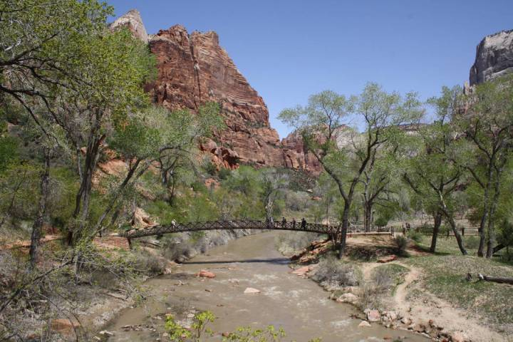 A footbridge is used by hikers to cross over the North Fork of the Virgin River. (Deborah Wall/Las Vegas Review-Journal)