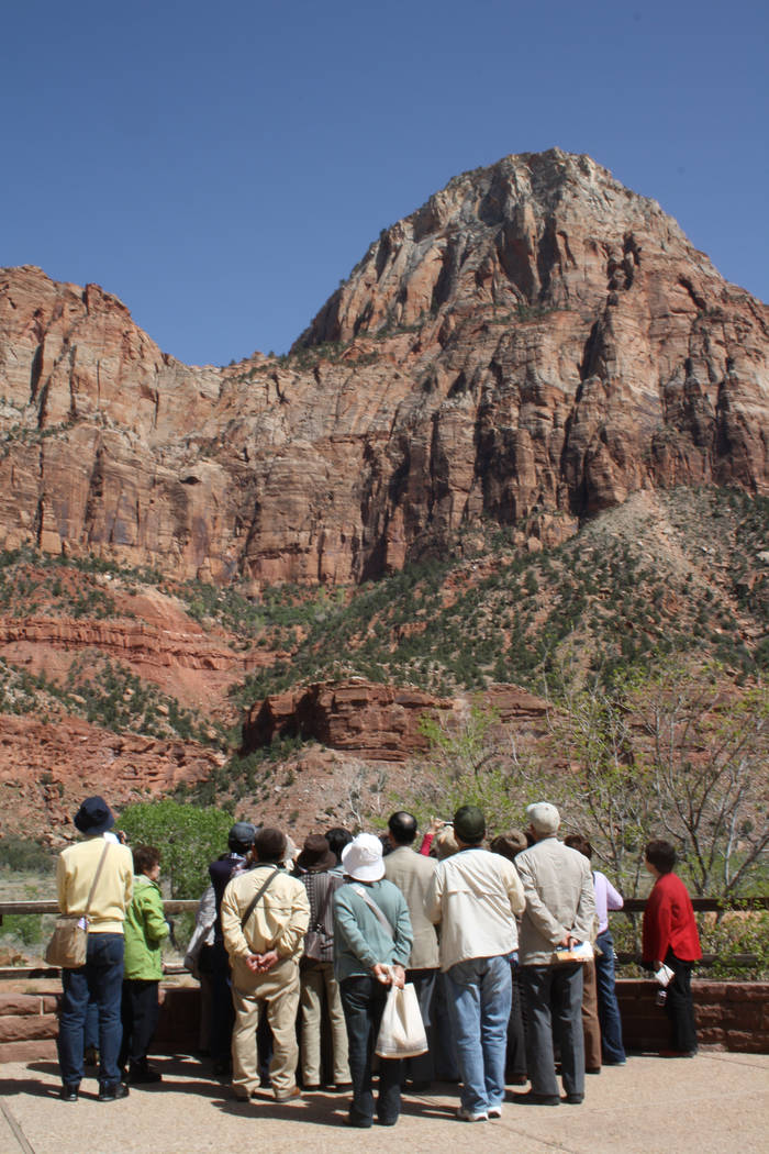 Visitors take in the views from the Zion Human History Museum. (Deborah Wall/Las Vegas Review-Journal)