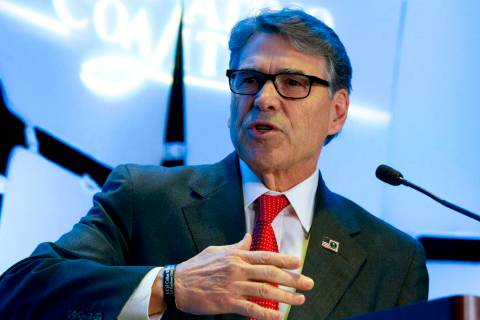 Energy Secretary Rick Perry speaks at Legislative Summit, co-hosted by The Latino Coalition and Job Creators Network, in Washington, Wednesday, March 6, 2019. (AP Photo/Jose Luis Magana)