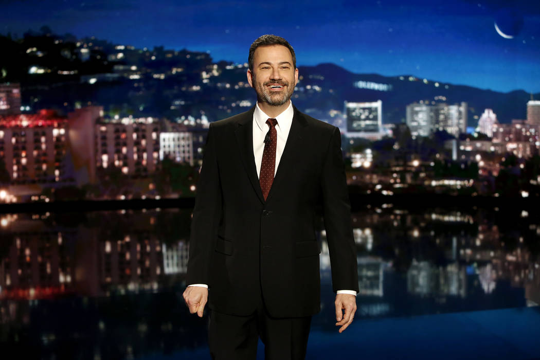 """""""Jimmy Kimmel Live!"""" airs every weeknight at 11:35 p.m. Pacific time. The show is originating from Las Vegas, at Zappos Theater, from April 1-5. (ABC/Randy Holmes)"""