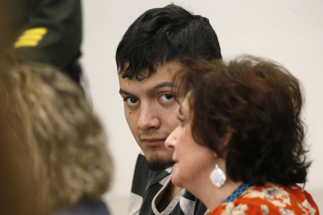 Wilber Martinez-Guzman appears in Carson City Justice Court on Thursday, Jan. 24, 2019. Martinez-Guzman, who is currently facing 36-counts of weapons and stolen property-related charges, is also e ...