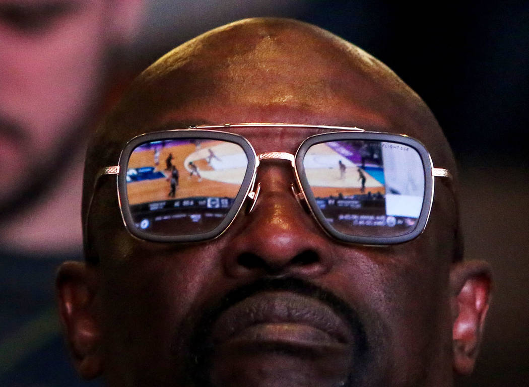 David Davis from California watches the first round of the NCAA men's college basketball tournament at the newly opened sports book inside The Strat in Las Vegas, Thursday, March 21, 2019. (Caroli ...