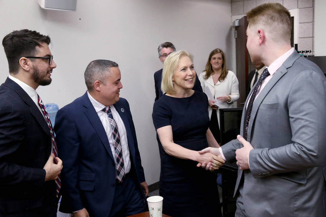 Democratic presidential candidate Sen. Kirsten Gillibrand, D-N.Y., meets UNLV Immigration Clinic student attorneys, from left, Patrick Tarzi, Homero Gonzalez and Erling Oster Thursday, March 21, 2 ...