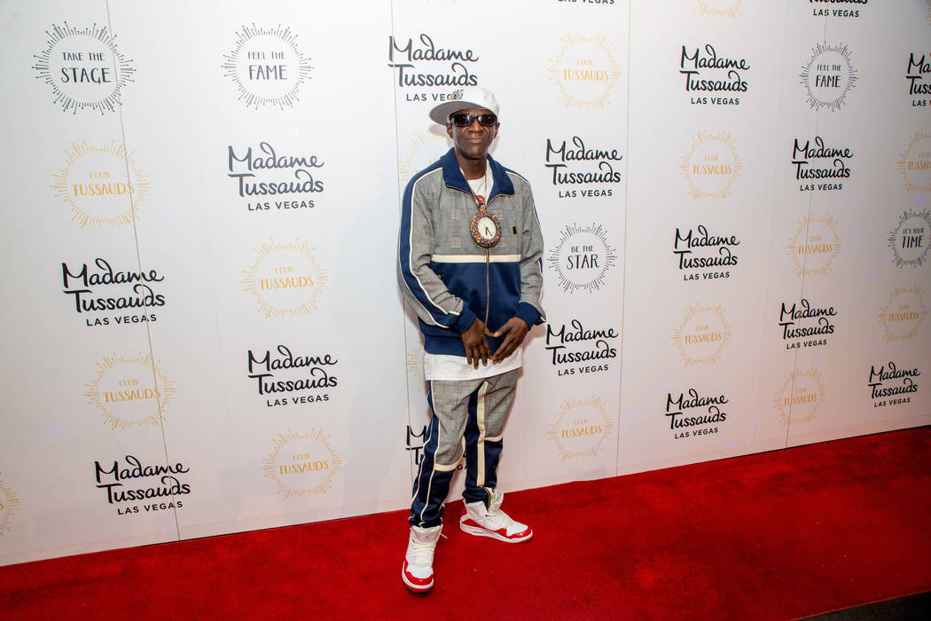 Flavor Flav is shown at Madame Tussauds Las Vegas' 20th anniversary party on Wednesday, March 20, 2019 (Key Lime Photo)