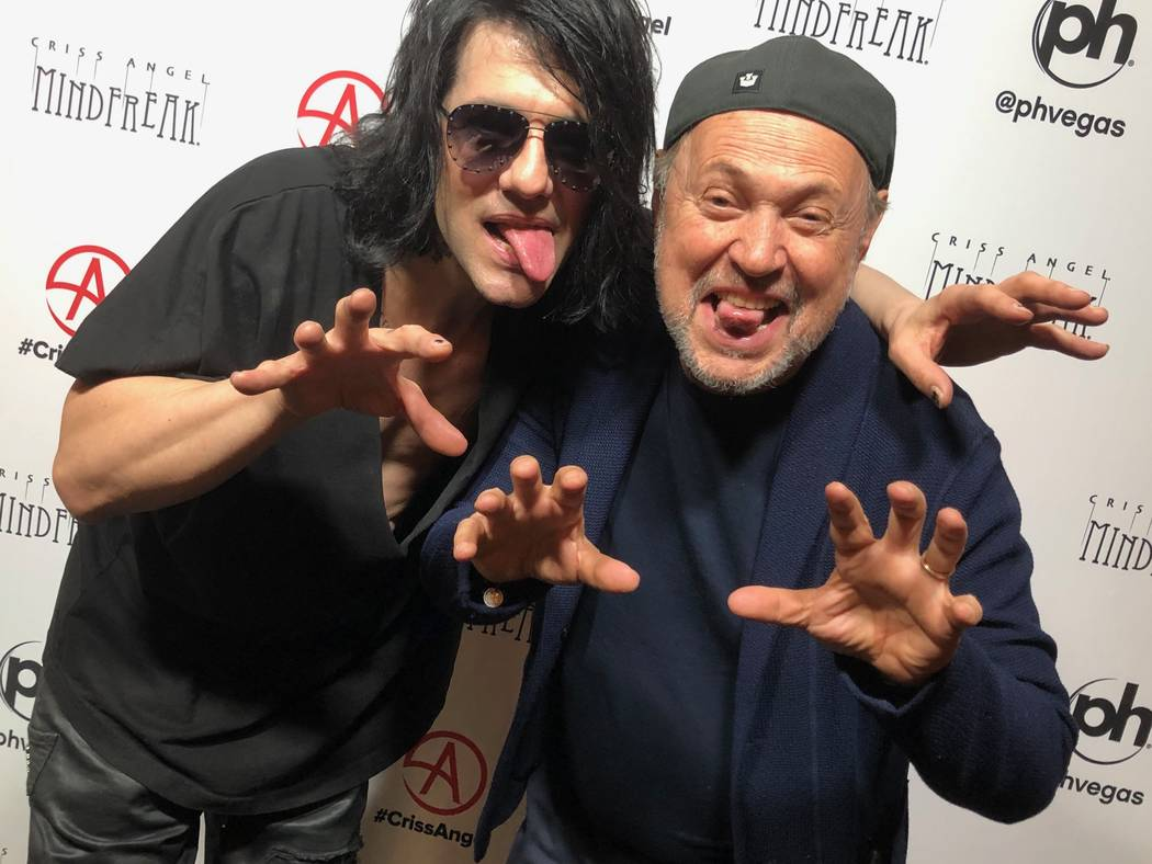 Criss Angel and Billy Crystal are shown after Angel's show on Saturday, March 16, 2019. (Criss Angel Mindfreak)