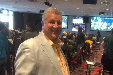 The D Las Vegas co-owner Derek Stevens is shown at Detroit Ballroom during the hotel's NCAA men's basketball tournament watch party on Thursday, March 21, 2019. (John Katsilometes/Las Vegas Review ...
