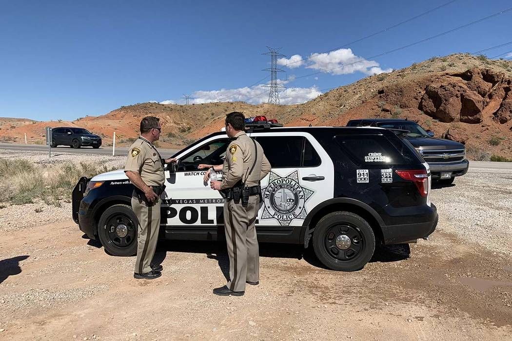Las Vegas police are investigating after a person was found dead under suspicious circumstances in the desert near the Lake Mead National Recreation Area, Thursday, March 7, 2019. (Mat Luschek/Las ...