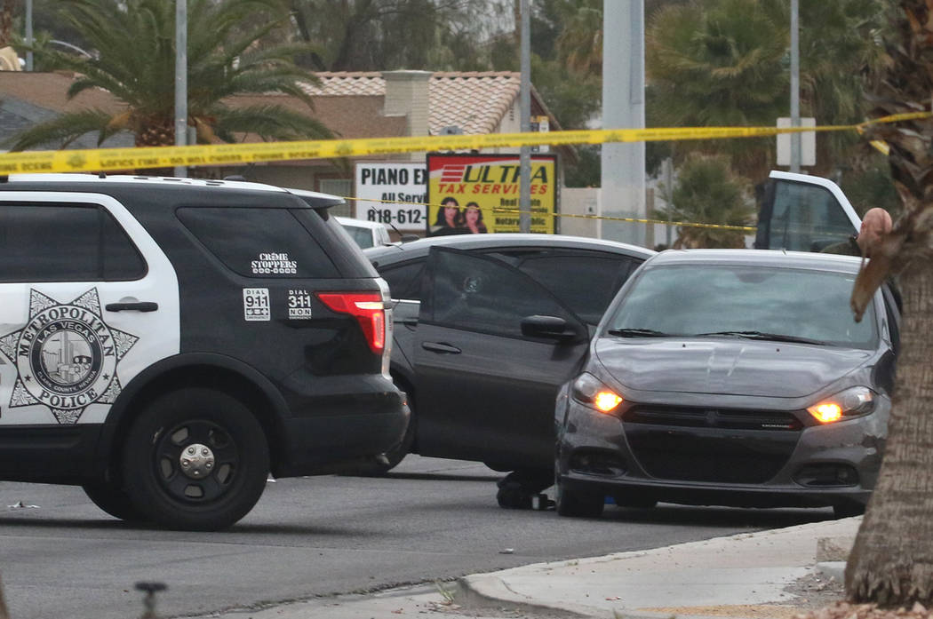 The Metropolitan Police Department investigates an apparent murder-suicide in the 5400 block of Eastern Avenue on Wednesday, March. 20, 2019, in Las Vegas. Bizuayehu Tesfaye Las Vegas Review-Journ ...
