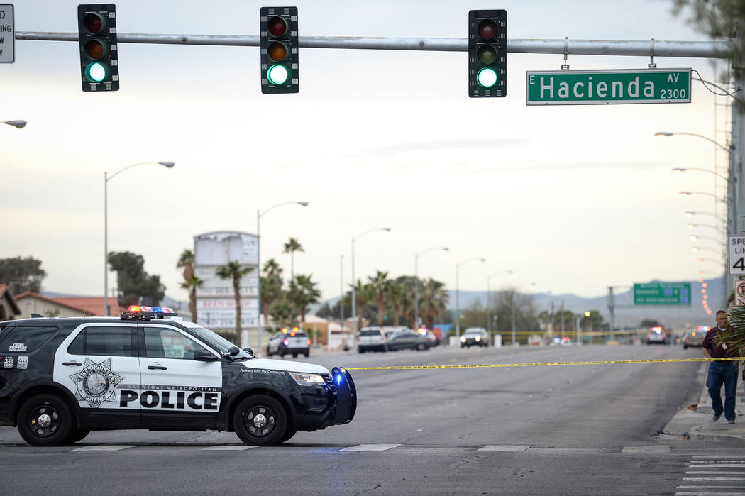 The Metropolitan Police Department investigates an apparent murder-suicide in the 5400 block of Eastern Avenue in Henderson, Wednesday, March 20, 2019. (Caroline Brehman/Las Vegas Review-Journal) ...