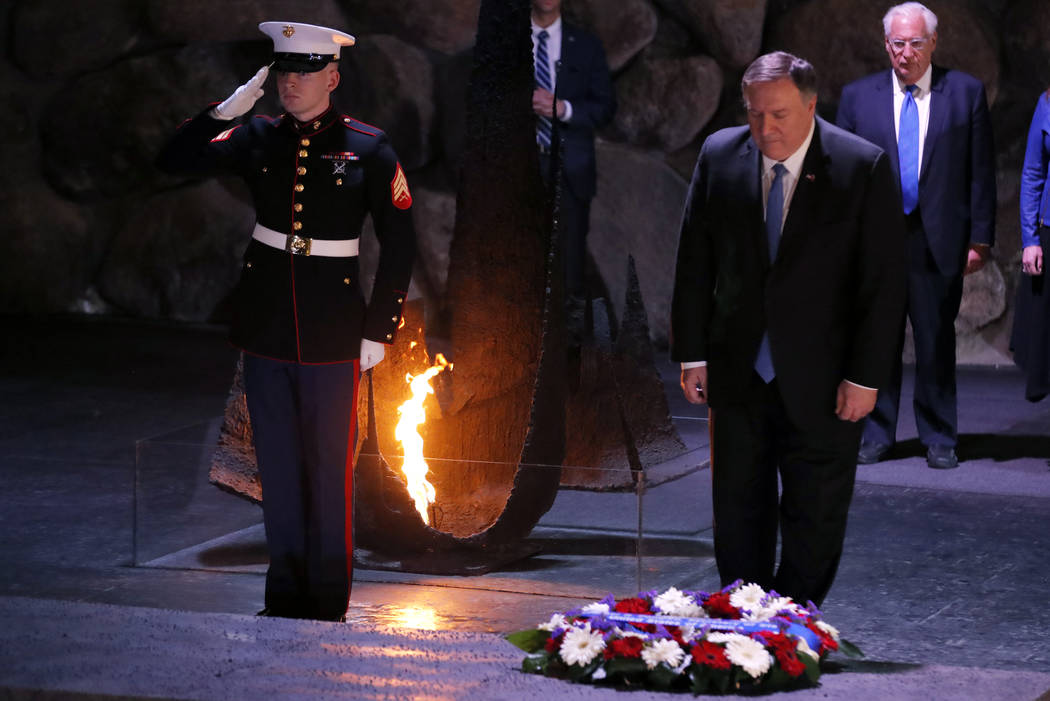 U.S. Secretary of State Mike Pompeo takes part in a wreath-laying ceremony commemorating the six million Jews killed by the Nazis in the Holocaust, in the Hall of Remembrance at Yad Vashem World H ...