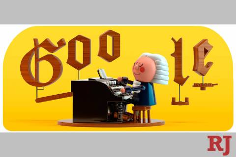 This image provided by Google shows the animated Google Doodle on Thursday, March 21, 2019. Google is celebrating composer Johann Sebastian Bach with its first artificial intelligence-powered Dood ...
