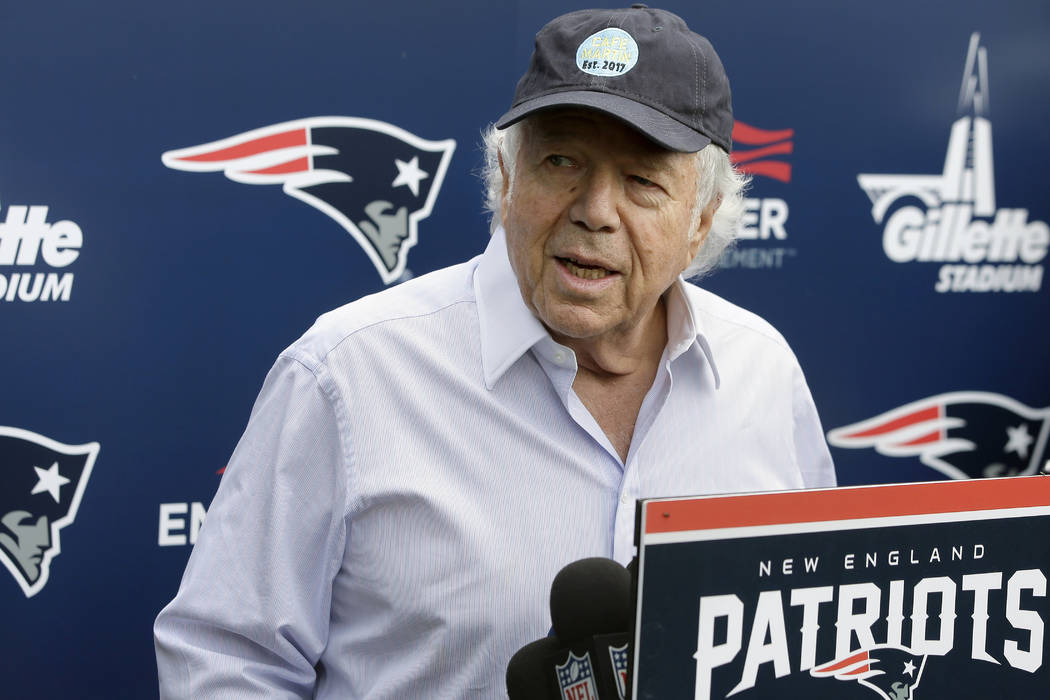 New England Patriots owner Robert Kraft speaks with reporters following an NFL football minicamp practice, in Foxborough, Mass. on June 7, 2018. (AP Photo/Steven Senne, File)