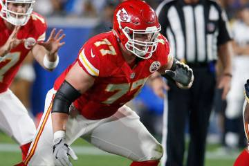 Kansas City Chiefs offensive tackle Jordan Devey (77) during a preseason NFL football game against the Los Angeles Rams, Saturday, Aug. 20, 2016, in Los Angeles. (AP Photo/Rick Scuteri)