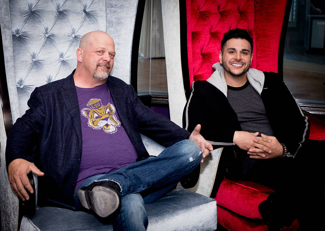 """Rick Harrison, star of """"Pawn Stars"""" on the History Channel with his Realtor Zar Zanganeh, owner of Luxe Estates & Lifestyles. (Tonya Harvey Real Estate Millions)"""