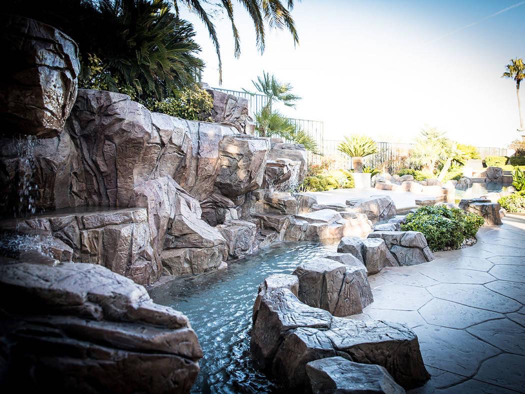 The backyard has a lazy river that flows across the landscape. (Tonya Harvey Real Estate Millions)