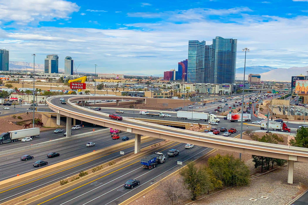 The Interstate 15, Tropicana Avenue interchange, seen here on Jan. 31, 2019, is set for a $200 million upgrade. Construction on the project is slated to begin in 2021 and finish in 2024. (Mick Ake ...