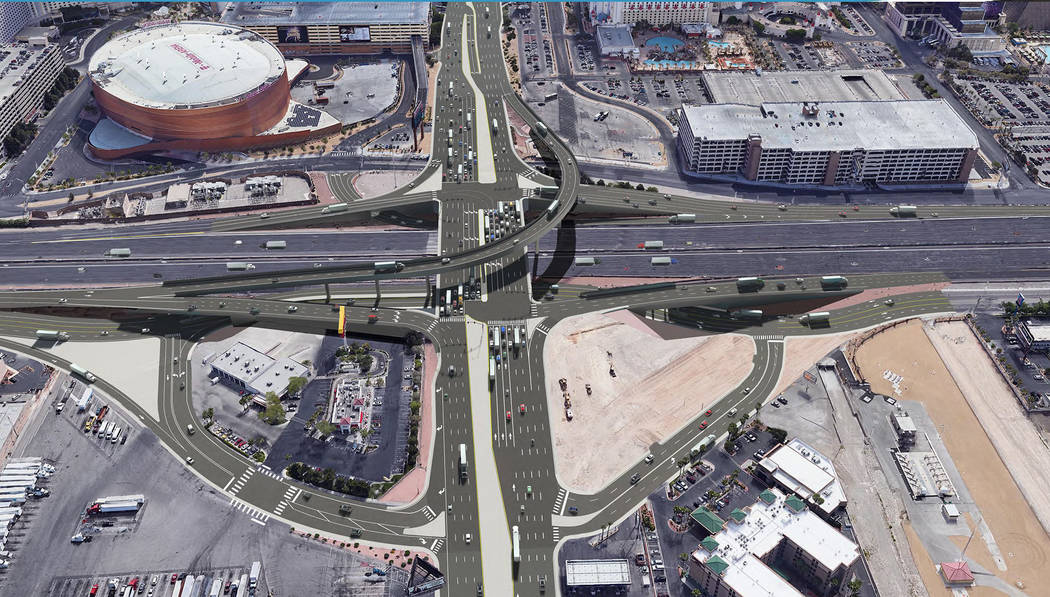A rendering of what the $200 million Interstate 15/Tropicana interchange project will look like once completed in 2024. (Courtesy: NDOT)