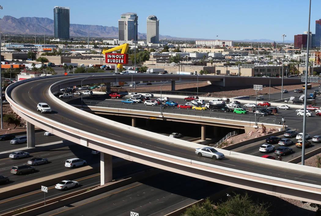 Commuters on the Tropicana Avenue interchange at Interstate 15, Monday, Oct. 9, 2017, in Las Vegas. Bizuayehu Tesfaye Las Vegas Review-Journal @bizutesfaye