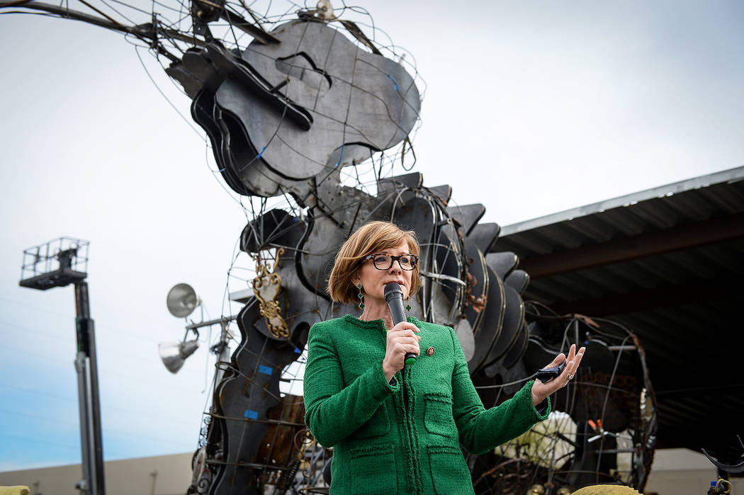 Rep. Susie Lee, D-Nev., and founder of Girl Scout troop 41, speaks at a viewing of local Girl Scout Tahoe Mack's Monumental Mammoth structure at XL Steel in Las Vegas, Thursday, March 21, 2019. (C ...