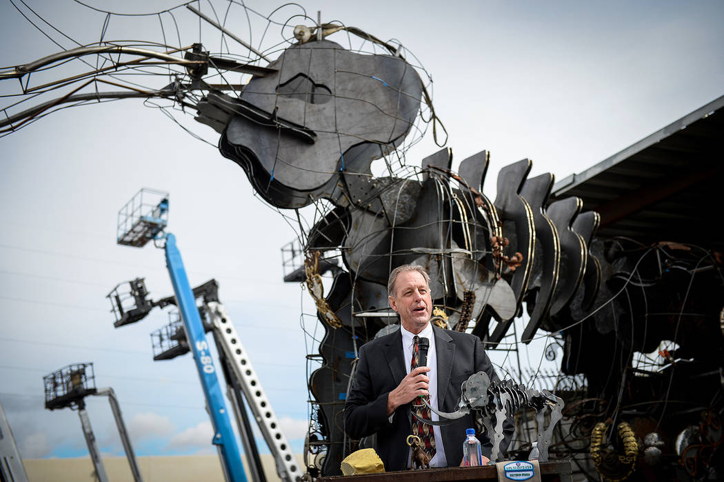 Mayor of North Las Vegas John Jay Lee speaks at a viewing of local Girl Scout Tahoe Mack's Monumental Mammoth structure at XL Steel in Las Vegas, Thursday, March 21, 2019. (Caroline Brehman/Las Ve ...