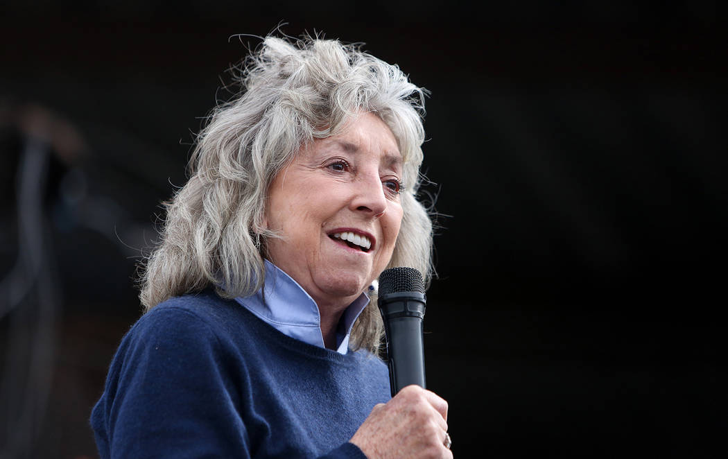 Rep. Dina Titus, D-Nev., speaks at a viewing of local Girl Scout Tahoe Mack's Monumental Mammoth structure at XL Steel in Las Vegas, Thursday, March 21, 2019. (Caroline Brehman/Las Vegas Review-Jo ...