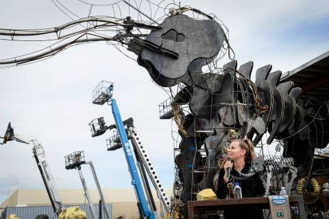 Local Girl Scout Tahoe Mack speaks at a viewing of her Monumental Mammoth structure at XL Steel in Las Vegas, Thursday, March 21, 2019. (Caroline Brehman/Las Vegas Review-Journal) @carolinebrehman