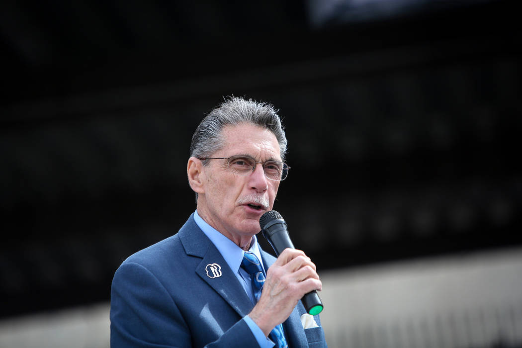 City of North Las Vegas Councilman Richard Cherchio speaks at a viewing of local Girl Scout Tahoe Mack's Monumental Mammoth structure at XL Steel in Las Vegas, Thursday, March 21, 2019. (Caroline ...