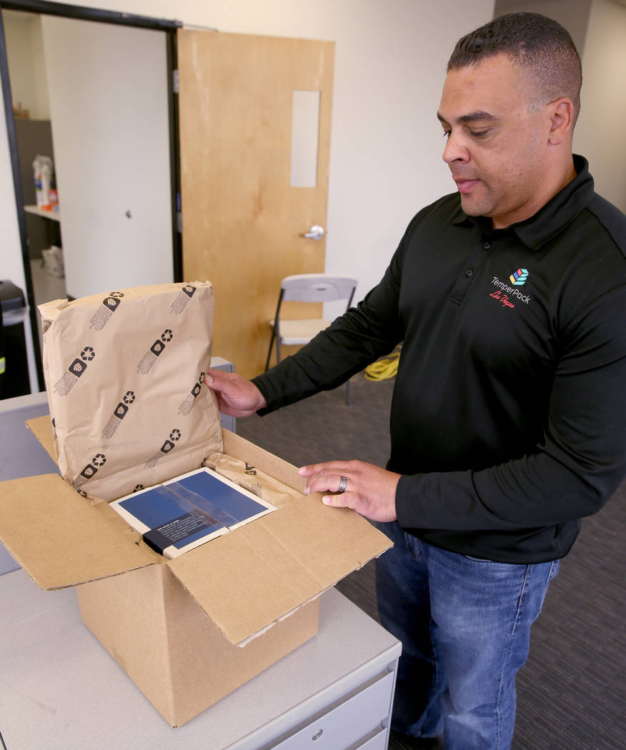 Todd Washington shows thermal packaging for meal kits and pharmaceuticals at TemperPack in Las Vegas Wednesday, March 20, 2019. (K.M. Cannon/Las Vegas Review-Journal) @KMCannonPhoto