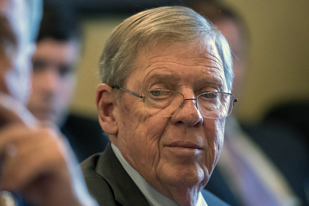 FILE - In this Feb. 14, 2019 photo, Sen. Johnny Isakson, R-Ga., leads a meeting on Capitol Hill in Washington. Isakson says that he's had enough of President Donald Trump's personal ...