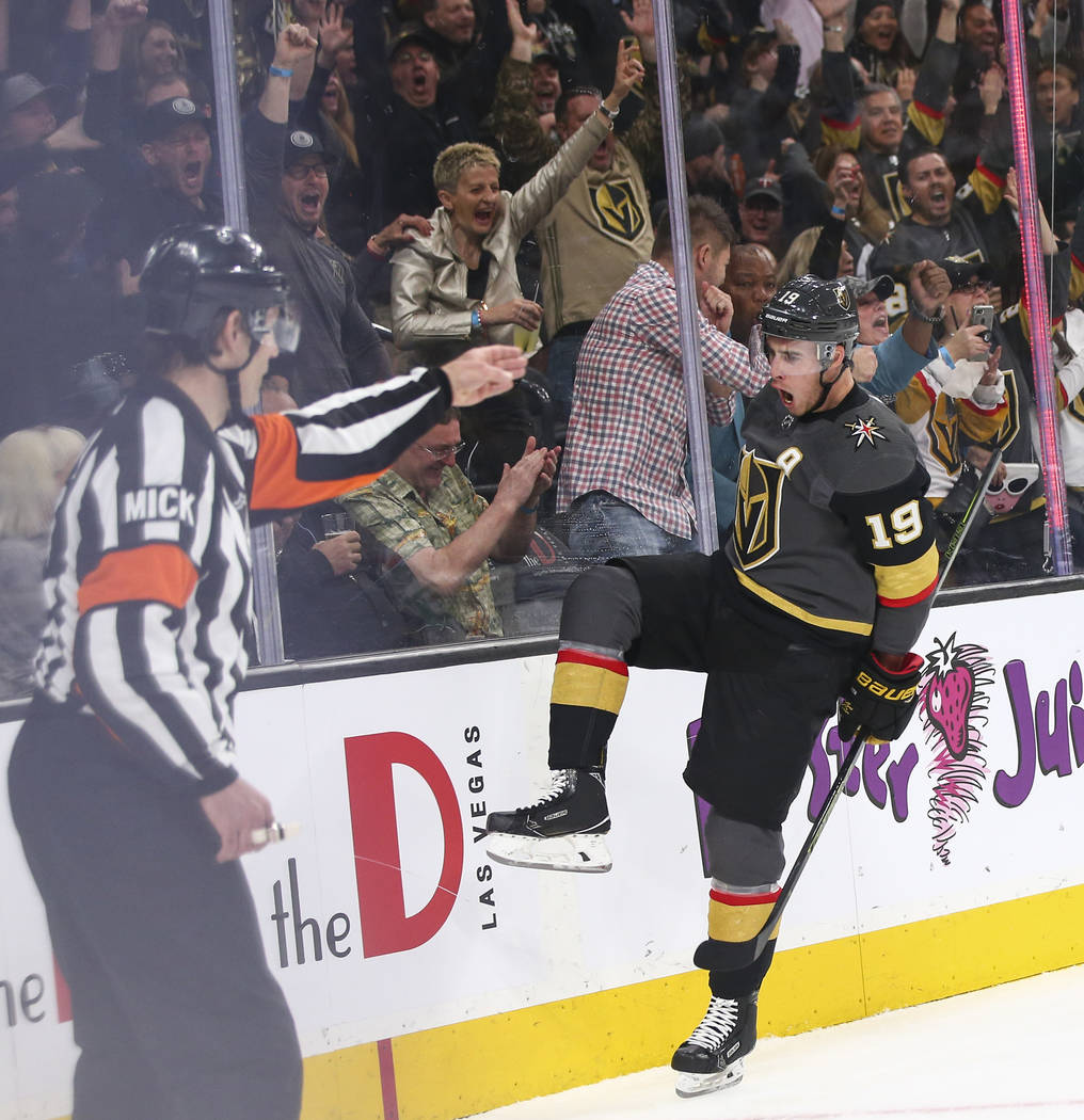 Golden Knights right wing Reilly Smith (19) celebrates his goal against the Winnipeg Jets during the first period of an NHL hockey game at T-Mobile Arena in Las Vegas on Thursday, March 21, 2019. ...