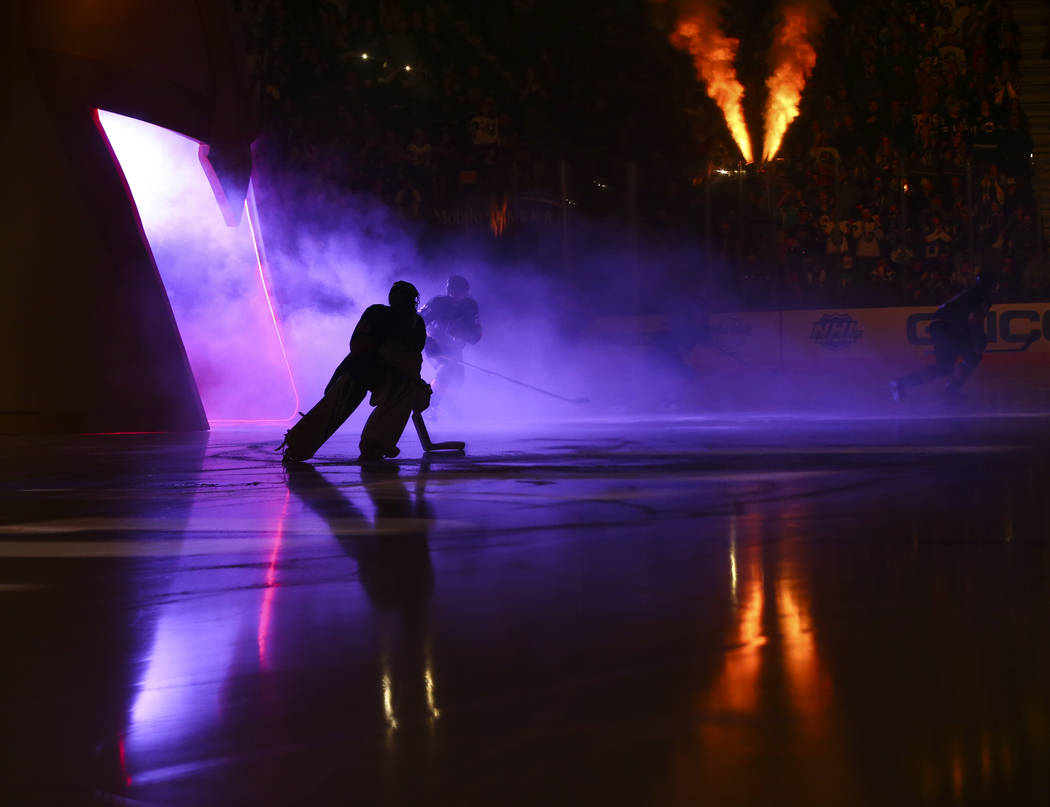 Golden Knights goaltender Malcolm Subban skates onto the ice before taking on the Winnipeg Jets in the first period of an NHL hockey game at T-Mobile Arena in Las Vegas on Thursday, March 21, 2019 ...