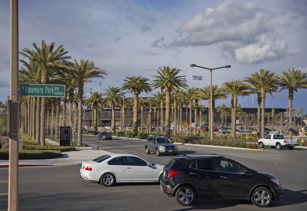 Traffic passes by Las Vegas Ballpark on Thursday, March 21, 2019, in Las Vegas. (Benjamin Hager Review-Journal) @BenjaminHphoto