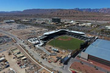 Aerial view of the Las Vegas Ballpark as grass installation nears completion on Thursday March 14, 2019. (Michael Quine/Las Vegas Review-Journal) @Vegas88s