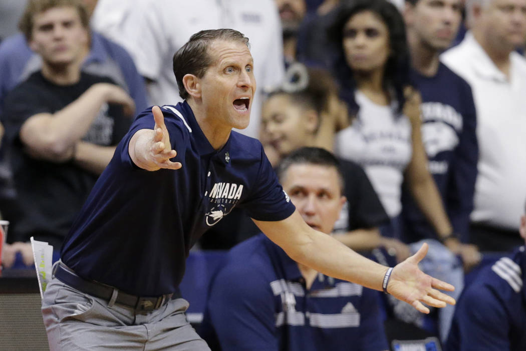 Nevada coach Eric Musselman yells instructions during the first half of a first round men's college basketball game against Florida in the NCAA Tournament, in Des Moines, Iowa, Thursday, March 21, ...
