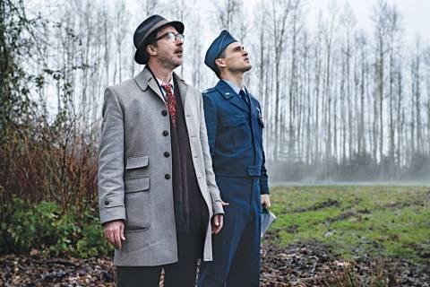 "Aidan Gillen and Michael Malarkey in ""Project Blue Book"" (Ed Araquel/History)"