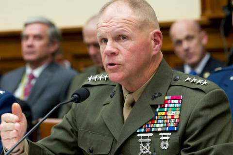 Marine Corps Commandant Gen. Robert B. Neller testifies on Capitol Hill in Washington, Wednesday, April 5, 2017, before the House Armed Services Committee hearing: 'Damage to the Military from a C ...