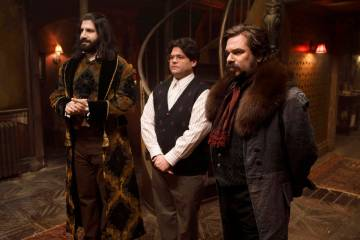 "WHAT WE DO IN THE SHADOWS -- ""Pilot"" -- Season 1, Episode 1 - Pictured (l-r): Kayvan Novak as Nandor, Harvey Guillen as Guillermo, Matt Berry as Laszlo. CR: John P Johnson/FX"