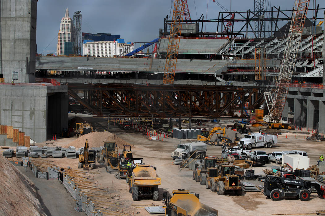 The Raiders stadium construction site in Las Vegas, Tuesday, March 19, 2019. Erik Verduzco Las Vegas Review-Journal @Erik_Verduzco