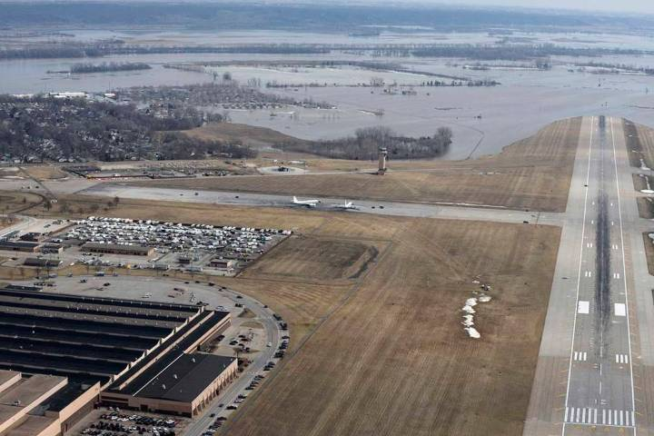 This March 17, 2019 photo released by the U.S. Air Force shows an aerial view of Offutt Air Force Base and the surrounding areas affected by floods in Nebraska (Tech. Sgt. Rachelle Blake/The U.S. ...
