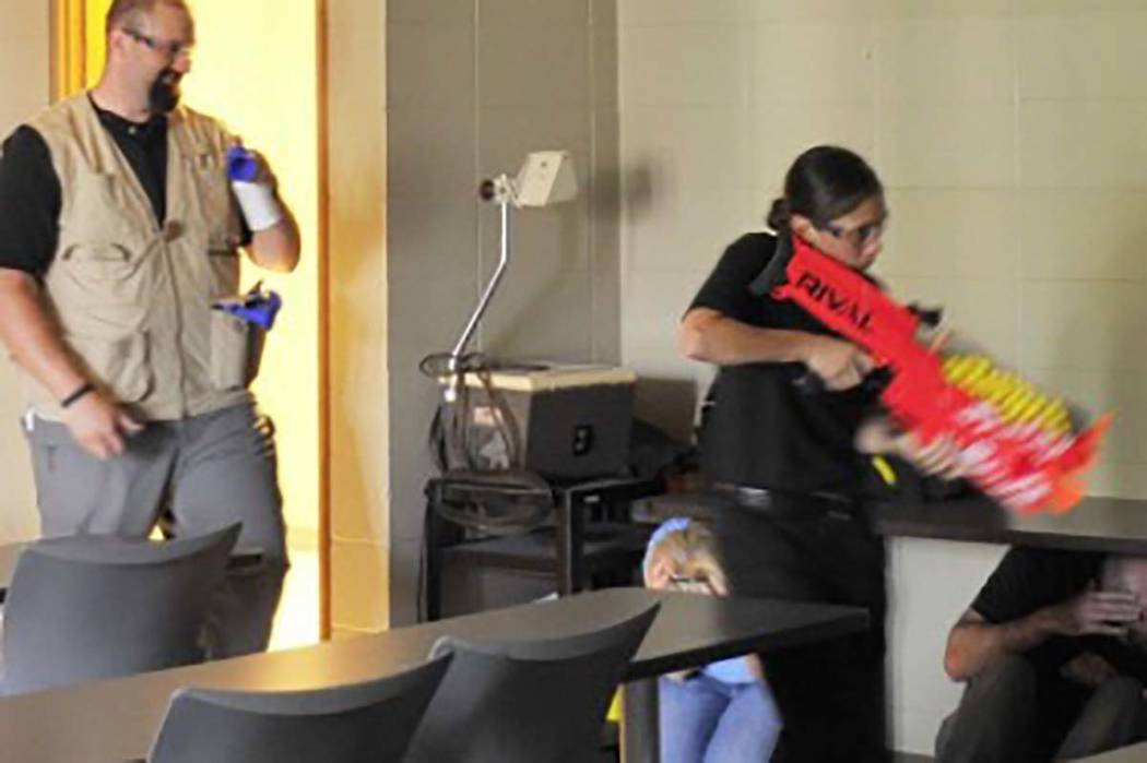 Indiana teachers take part in a safety drill. (Indiana State Teachers Association)