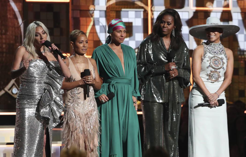 Lady Gaga, from left, Jada Pinkett Smith, Alicia Keys, Michelle Obama and Jennifer Lopez speak at the 61st annual Grammy Awards on Sunday, Feb. 10, 2019, in Los Angeles. (Matt Sayles/Invision/AP)