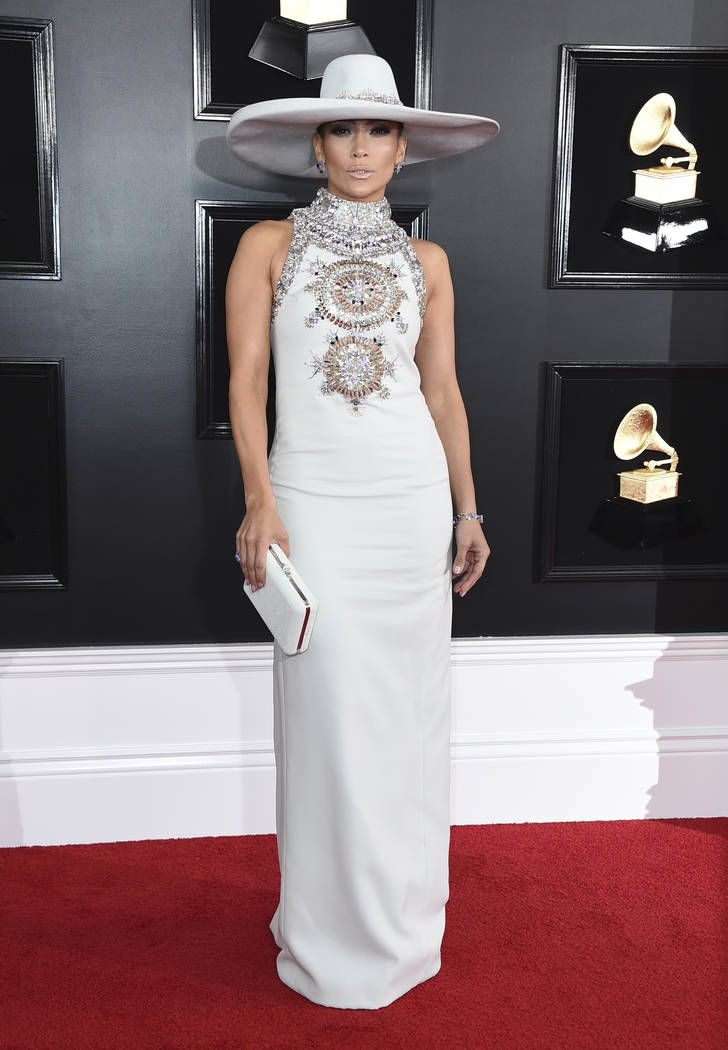 Jennifer Lopez arrives at the 61st annual Grammy Awards at the Staples Center on Sunday, Feb. 10, 2019, in Los Angeles. (Jordan Strauss/Invision/AP)