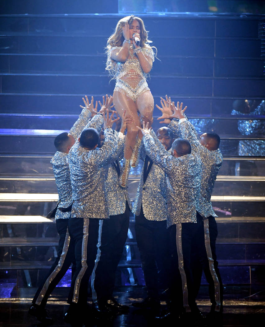 """Jennifer Lopez performs during the finale of her residency, """"Jennifer Lopez: All I Have"""" at Zappos Theater at Planet Hollywood on the Las Vegas Strip, Sept. 29, 2018. (Ethan Miller/Getty Images fo ..."""