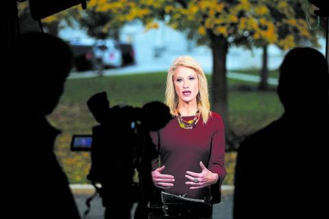 Counselor to President Donald Trump Kellyanne Conway, is interviewed on television at the White House's North Lawn in Washington, Wednesday, Nov. 7, 2018. (AP Photo/Manuel Balce Ceneta)