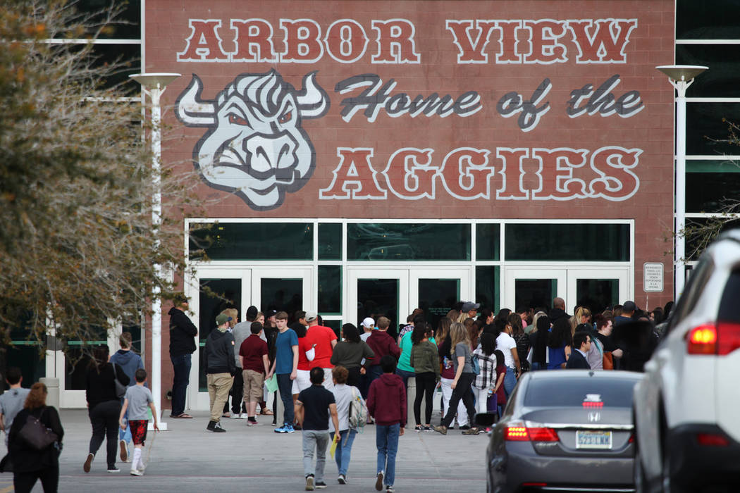 People arrive for an after-school event at Arbor View High School in Las Vegas, Tuesday, March 19, 2019. Erik Verduzco Las Vegas Review-Journal @Erik_Verduzco