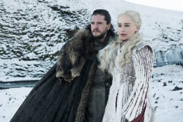 "Kit Harington and Emilia Clarke appear in a scene from ""Game of Thrones."" (Helen Sloane/HBO)"