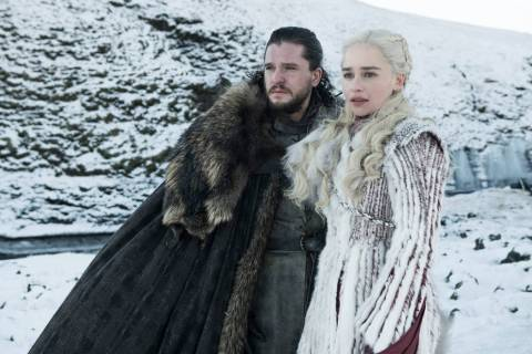 """Kit Harington and Emilia Clarke appear in a scene from """"Game of Thrones."""" (Helen Sloane/HBO)"""
