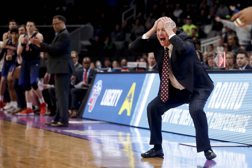 Mississippi State coach Ben Howland reacts during the second half of the team's first=round game against Liberty in the NCAA men's college basketball tournament Friday, March 22, 2019, in San Jose ...